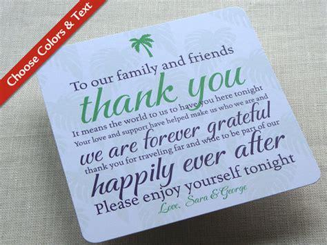 destination wedding thank you card template palm tree wedding reception thank you card destination