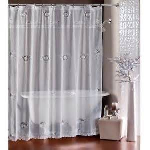 lorraine home shower curtain sheer white lace fabric