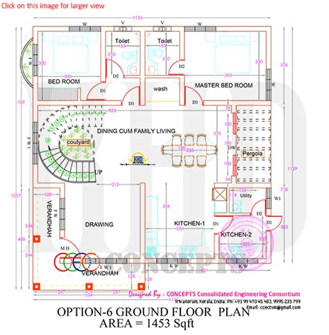 Ground Floor Floor Difference by One House In 3 Different Styles With Plan Kerala Home