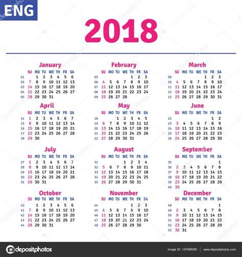 Calendar 2018 Stock Vector 169 Rustamank 147099355