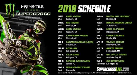 2018 Monster Energy Supercross Series Schedule