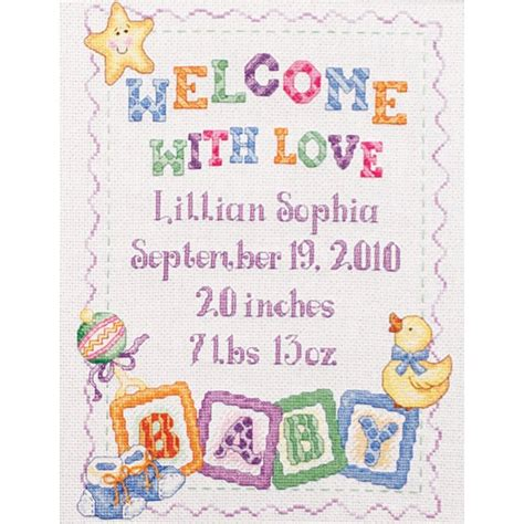 Cross Stitch Baby Birth Record Bucilla Baby Blocks Birth Record Counted Cross Stitch Kit