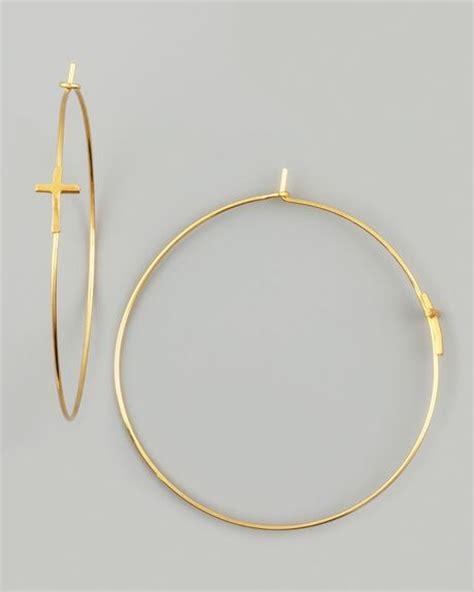 Allen Dons Gold Ribbed Hoop Earrings A La Hilary Duff by Dogeared Gold Cross Hoop Earrings In Gold Lyst