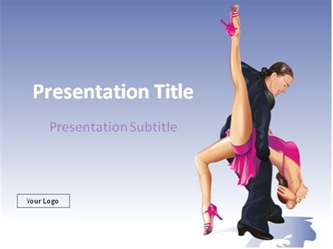 ppt themes dance download tango dancing couple over blue gradient