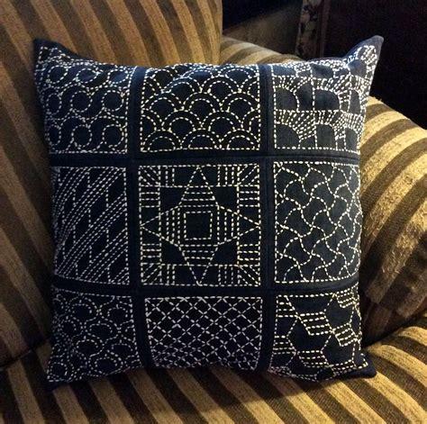 sashiko pillow sashiko embroidery pillow  jacque davis flickr