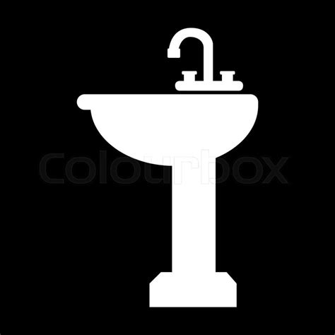 Best Bathroom Faucet Bathroom Sink Icon White On The Black Stock Vector