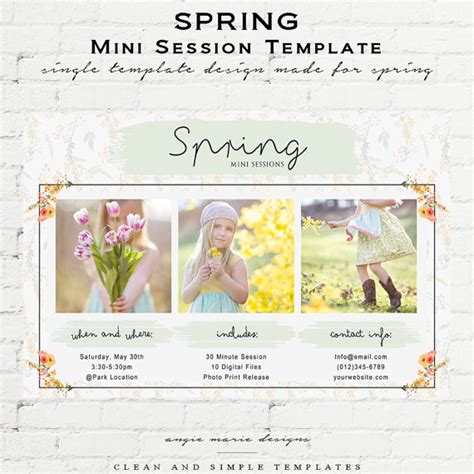 mini session templates for photoshop spring mini session photoshop template by angiestemplateshop