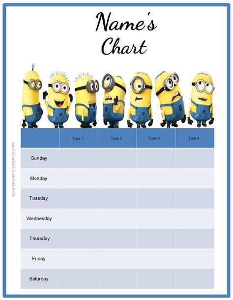 printable reward charts minions behavior charts with the minions