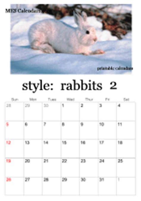 free printable rabbit calendars calendar maker with