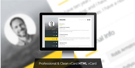 premium layers html vcard resume template 30 best vcard html website templates 2018 wpshopmart