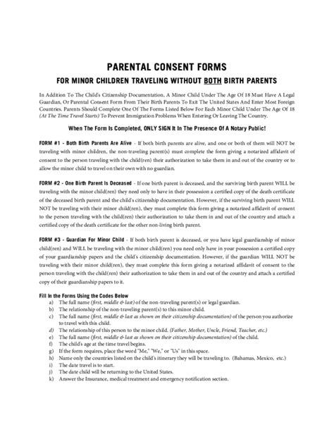 Parent Consent Letter Canada Parental Consent Form For Child Travel Free