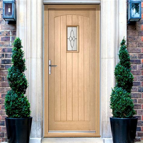External Oak Front Doors Cottage External Oak Door And Frame Set With Fittings And Black Caming Glazing