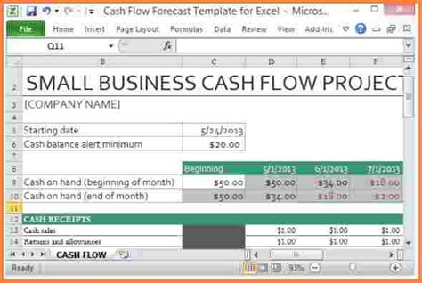 small business flow template monthly small business flow statement template