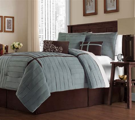 chocolate brown and blue bedding sets