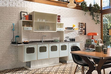 50s Style Kitchen Cabinets Retro Style Kitchen Cabinets With A Metallic Finish Decoist