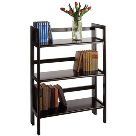 Three Tier Folding Display Shelf Black In Free Standing Free Standing Shelving