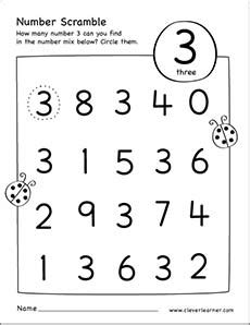 number scramble activity worksheet for number 3 for