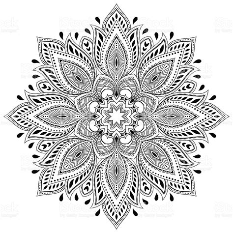 henna tattoo color henna mandala in mehndi style pattern for coloring