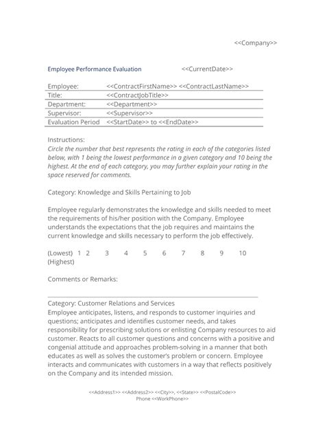 Evaluation Letter For Promotion employee performance evaluation form