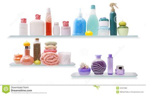 Mascara Shelf by Shelf With Cosmetics In A Bathroom Stock Photo Image