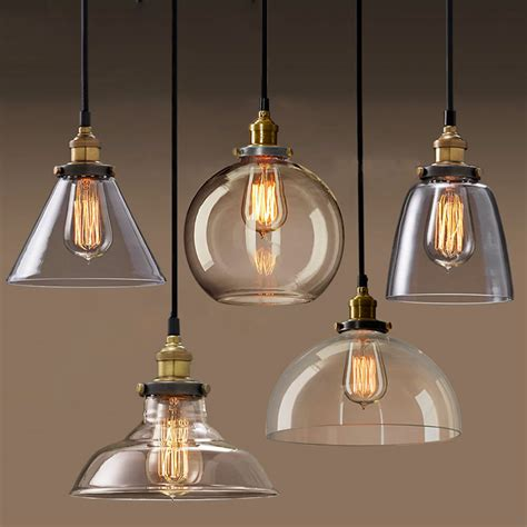 Permo Pendant Light Chandelier Vintage Industrial Clear Glass Pendant Lights