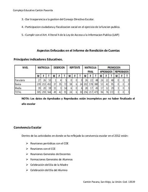 ley n 19149 de rendicin de cuentas 2012 parlamento informe rendicion de cuentas pavanita 2012