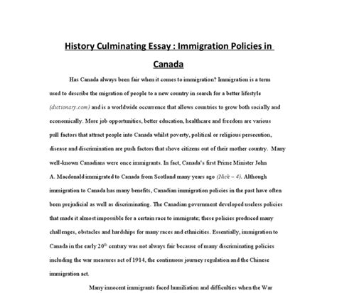 Immigration To Canada History Essay by Has Canada Always Been Fair When It Comes To Immigration International Baccalaureate History