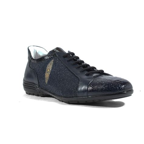 mauri sneakers for mauri shoes italian blue ostrich leg nappa leather