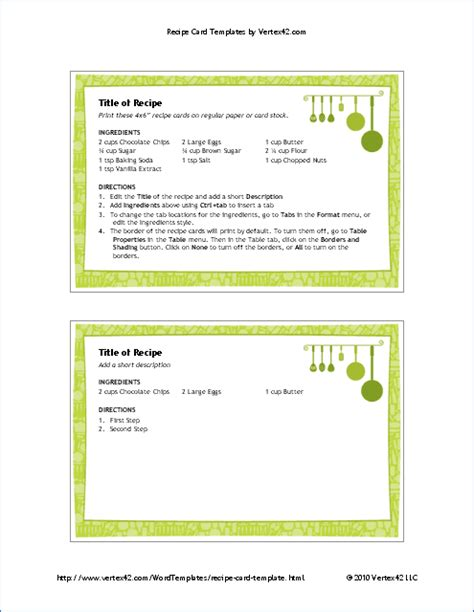recipes template free printable recipe card template for word