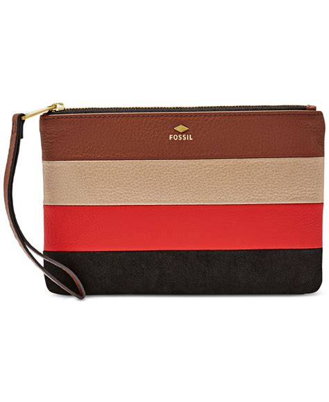Leather Patchwork - lyst fossil gifting leather patchwork wristlet in