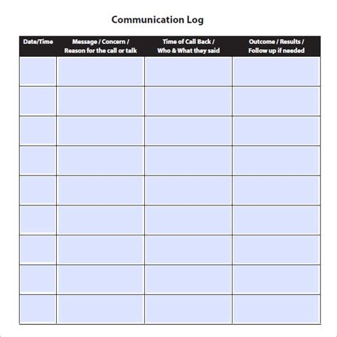 templates for business communication communication log template 8 free pdf doc download