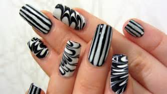 And white stripes and water marble design nail art tutorial youtube
