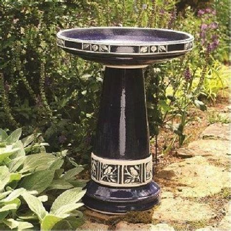 Designer Bird Baths Burley Clay Zanesville Blue Birdbath And Pedestal Stand