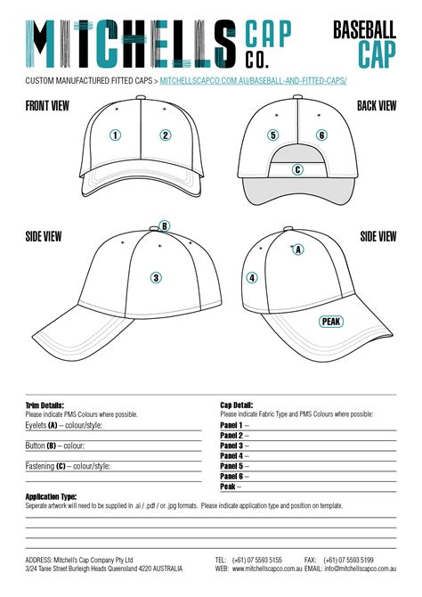 hat design template custom baseball cap template