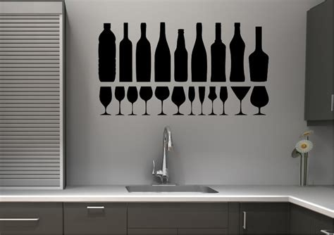Black And Pink Bathroom Ideas wine glasses kitchen wall stickers adhesive wall sticker