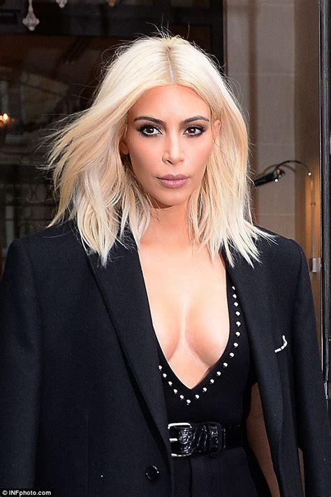 kim kardashian platinum blonde formula kim kardashian displays extreme cleavage for paris lunch