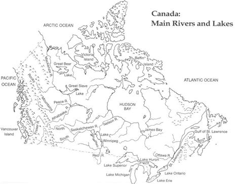 canadian map rivers canada printable map