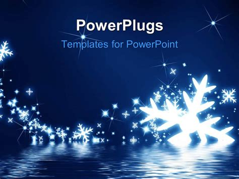 Powerpoint Template Snowflakes On A Dark Blue Background Snowflake Powerpoint Template