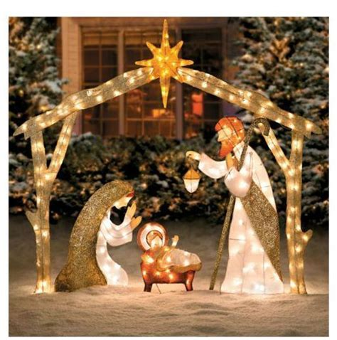 outdoor nativity nativity and christmas decorations on