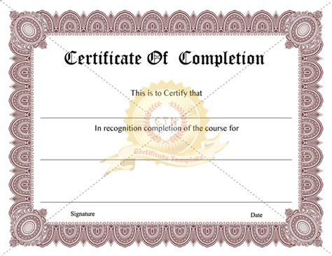 printable certificate of completion certificate template