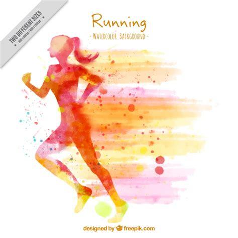 imagenes de happy birthday runner silhouette background of watercolor woman running vector