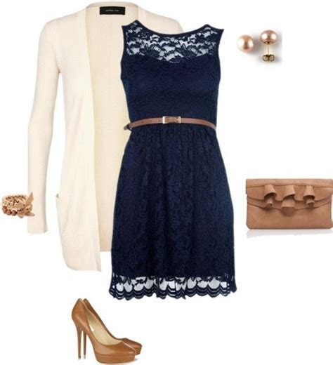 navy lace overlay dress, cream cardigan, camel/gold accessories.. kah yute!   cute   Pinterest