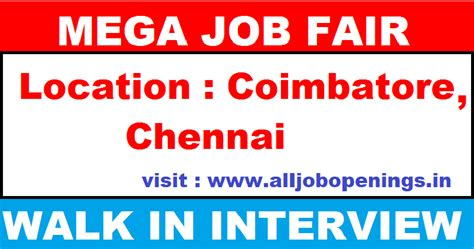 Current Opportunities In Coimbatore For Mba Freshers by Mega Fair In Cts Cus For Fresher S At