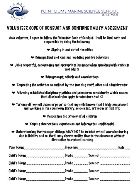 Letter Of Agreement For Volunteers Point Dume Parent Volunteer Agreement
