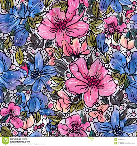 watercolor ink pattern watercolor flowers stock illustration image of blossom
