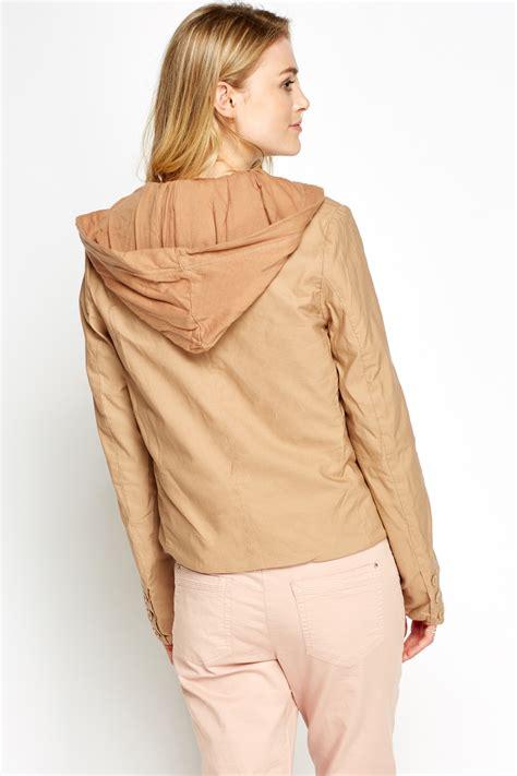 07 Farisia Jacket Light light brown hooded jacket just 163 5