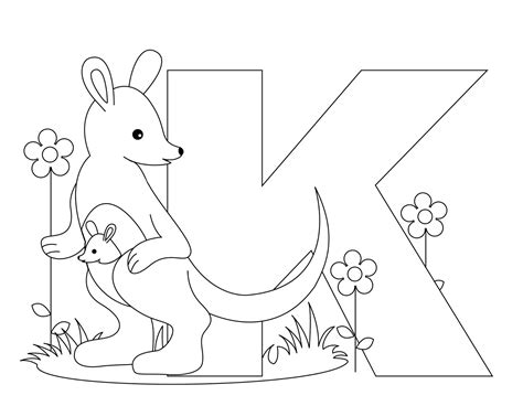 animal alphabet letter k coloring child coloring