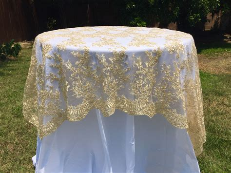 Gold embroidered lace table runner, gold tablecloth, table