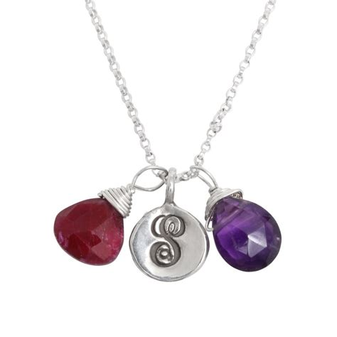 mothers birtstone and initial necklace silver covey