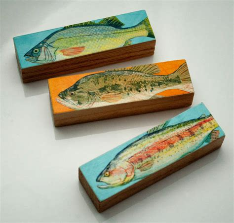 gift for fisherman small fish prints fish sticks stick fish block